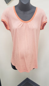 Medium Orange Striped Cap Sleeve Maternity Tee