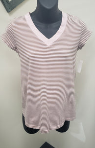 Small Light Pink/Brown Striped Maternity Tee