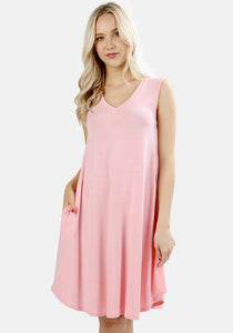 Round Hem A- Line Sleeveless Dusty Pink Dress