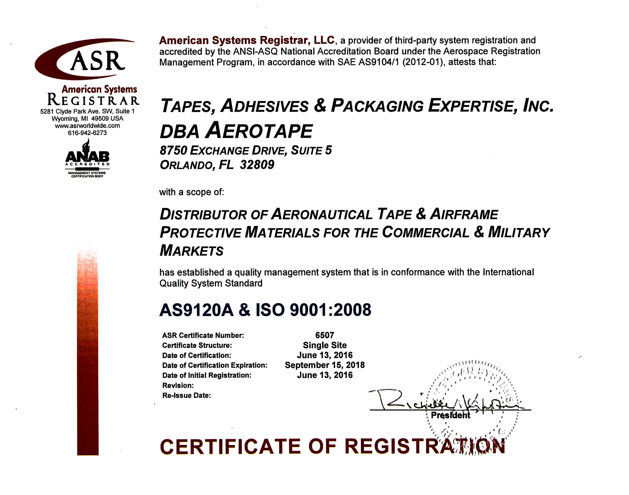 AEROTAPE AS9120A & ISO 9001:2008 Certification