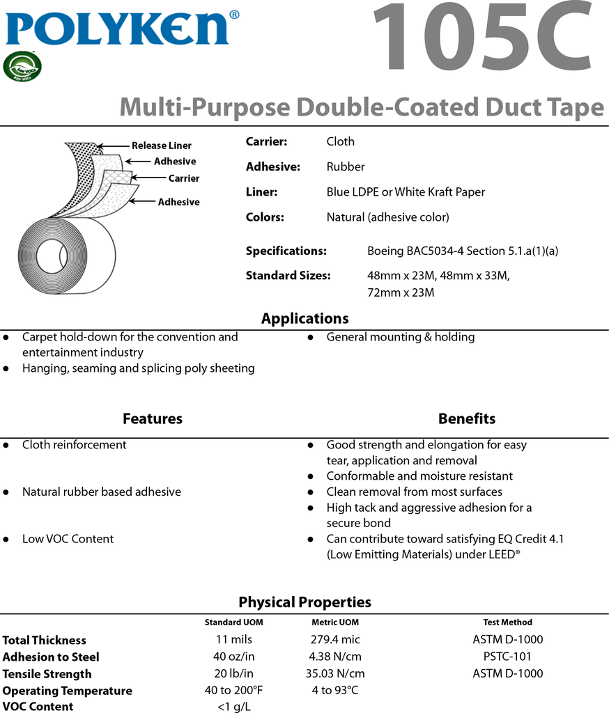 Polyken 105C Carpet Tape