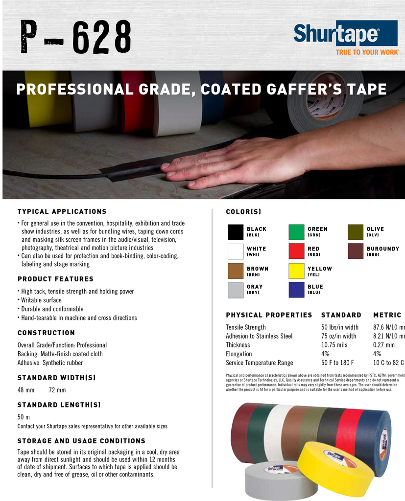 Shurtape P628 Gaffer TApe Sold By Aerotape.com