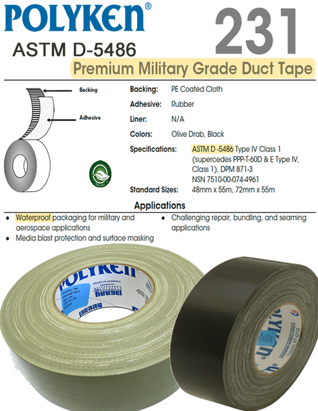 Polyken® 231 ►Military-Grade Duct Tape◄ NSN: 7510-01-121-8267