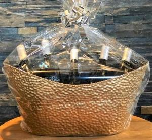 5 Bottle Decorative Metal Basket with Bow