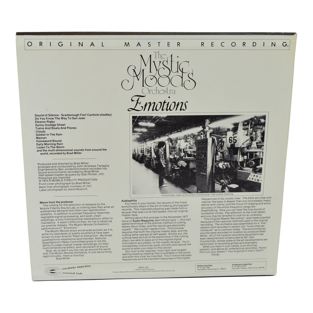 MFSL Collectors: 1979 Mobile Fidelity The Mystic Moods Orchestra Emotions LP #1-001