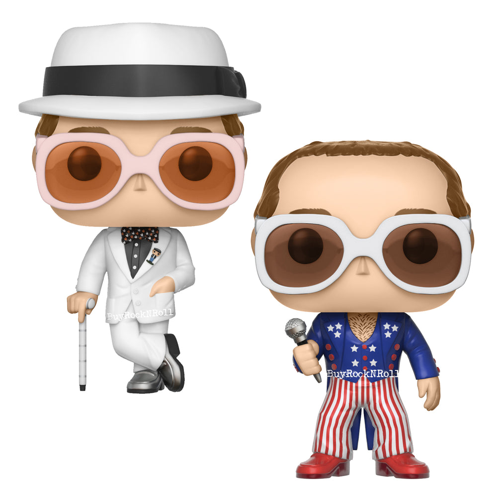 Elton John Collectibles 2017 Funko POP Rocks Greatest Hits & Patriotic Figures In Stacks Display Cases