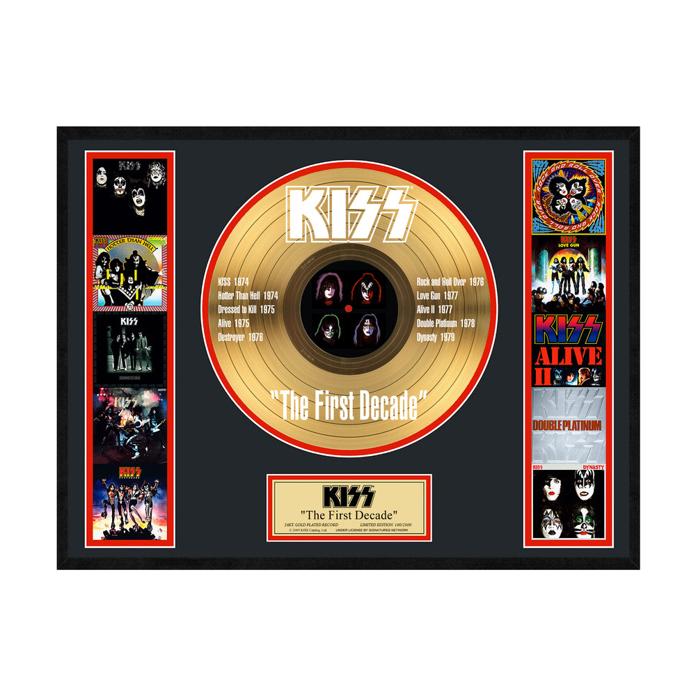 KISS Collectible - The First Decade Limited Edition 24 KT Gold Record LP #671