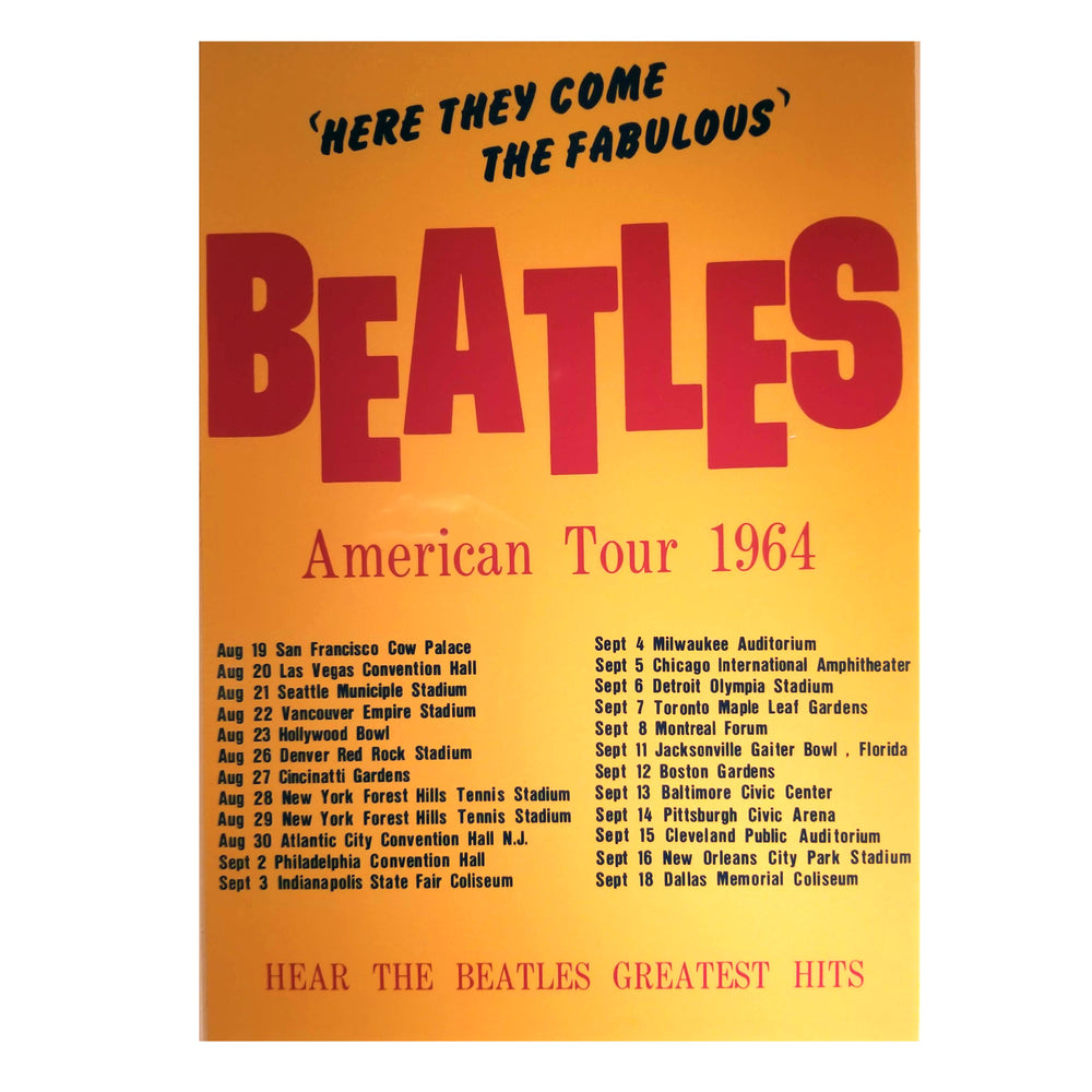 The Beatles Collectible: American Tour 1964 Ticket Collage Framed 26x32