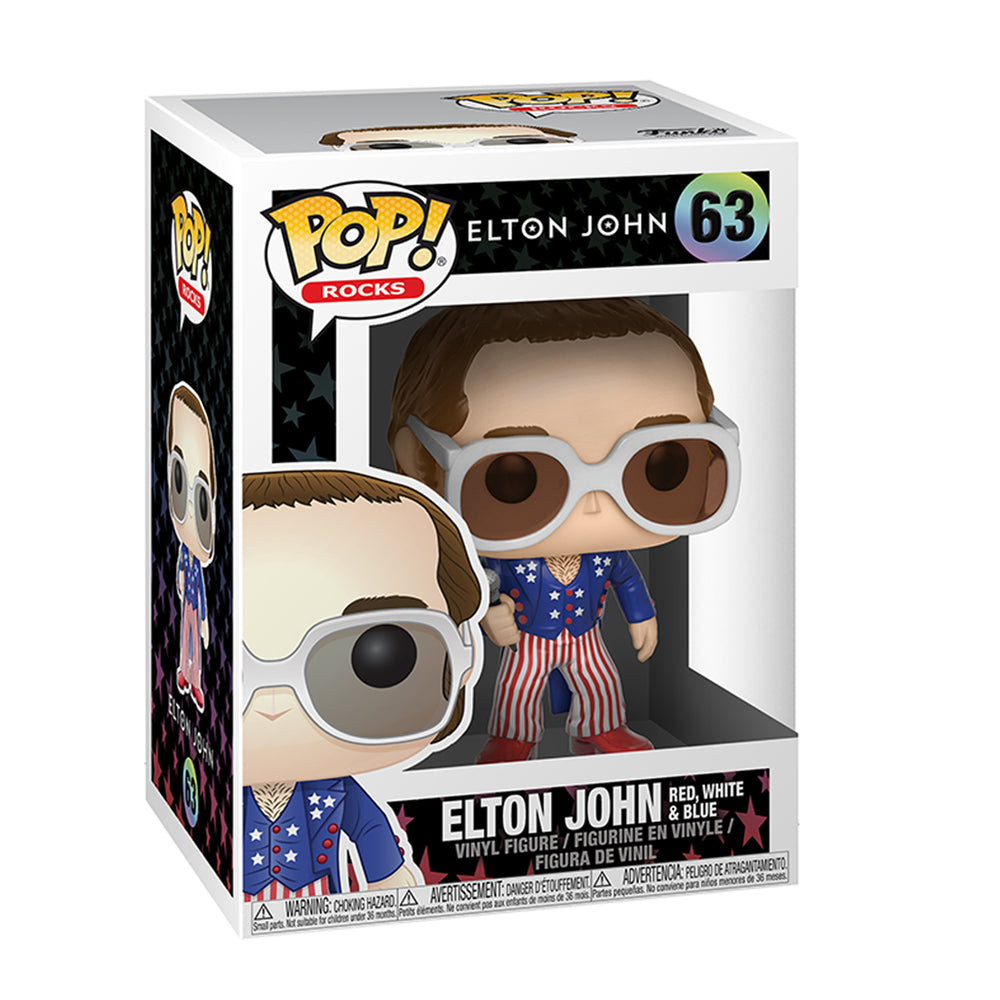 Elton John Handpicked 2017 Funko POP Rocks Patriotic Figure In Display Case #63