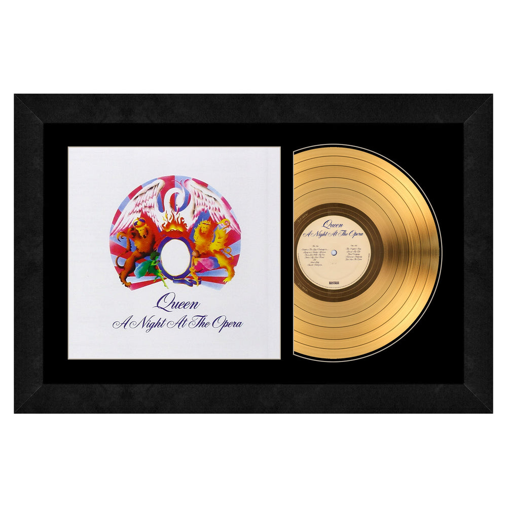 Queen Collectible A Night At The Opera by Queen 24KT Gold Record LP Album Framed 17x26