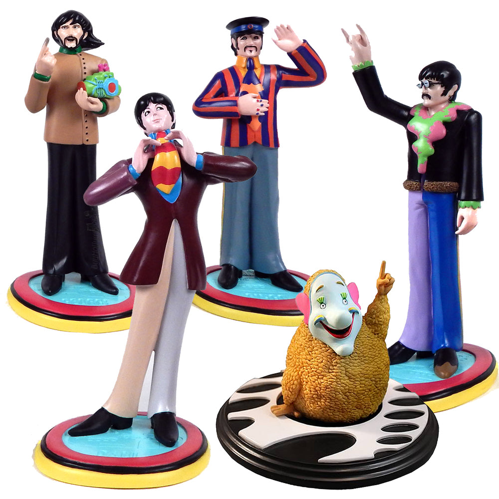 Beatles Collectibles:2011 Knucklebonz Yellow Submarine Rock Iconz Statue Set