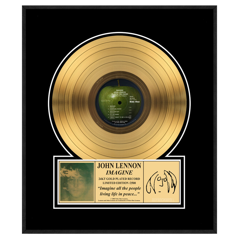 John Lennon Collectible- Imagine Gold LP Framed Record Limited Edition #1498/2500