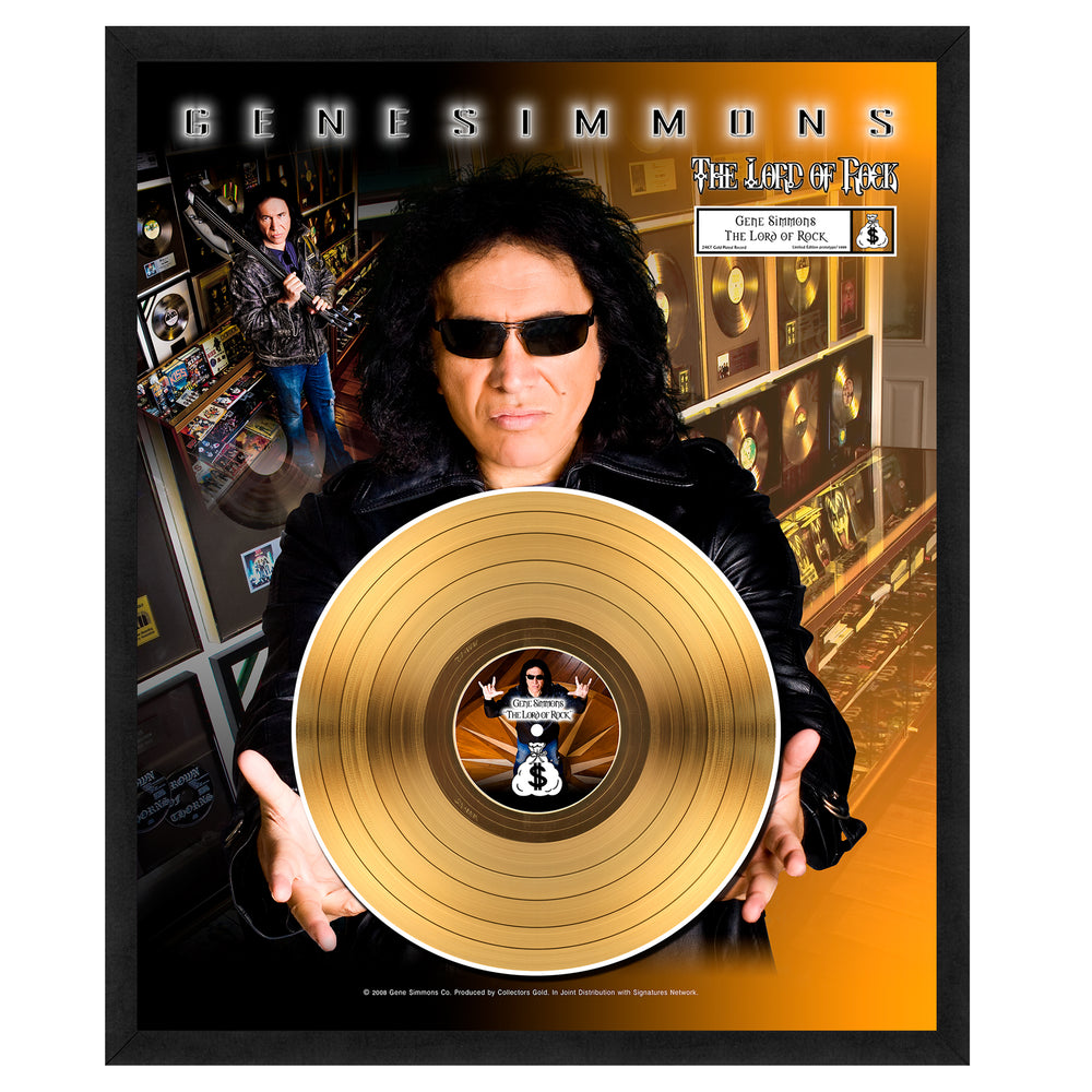 KISS Collectible: Lord of Rock Gene Simmons Limited Edition Framed Gold Record #542/1000