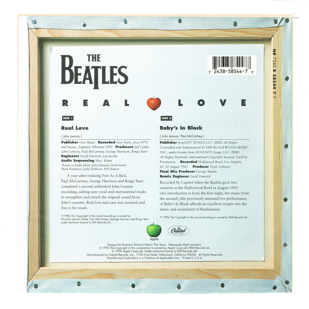 "Beatles Record: 1996 Capitol REAL LOVE/ Baby's In Black 7"" Vinyl Single & Sleeve"