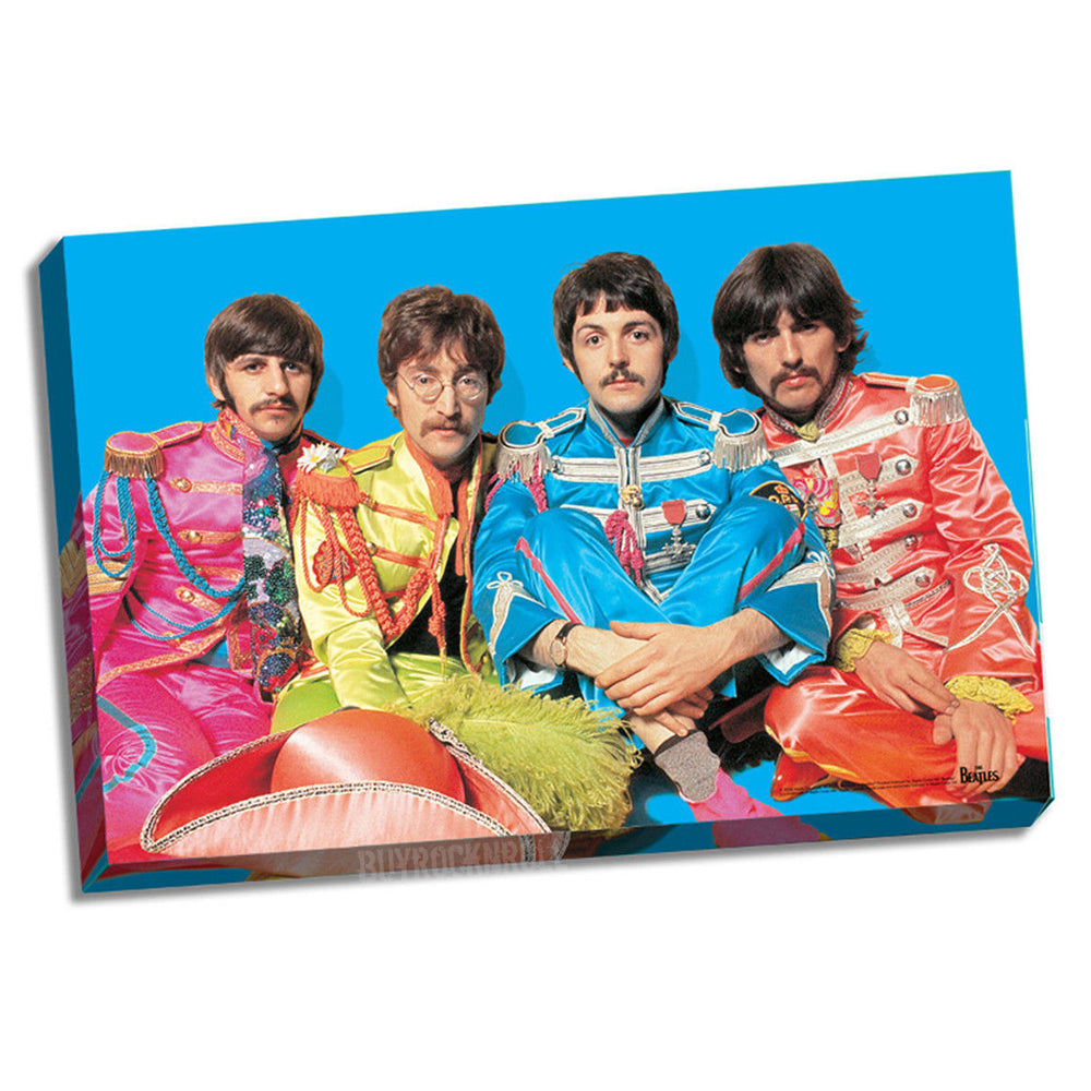Beatles Sgt Pepper Wall Art Stretched Canvas Group Pose Blue BG Photo 24x26