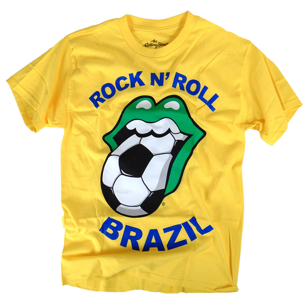 Rolling Stones 2014 Mick Jagger's Rock N Roll Brazil Soccer Mouth T-Shirt -Large
