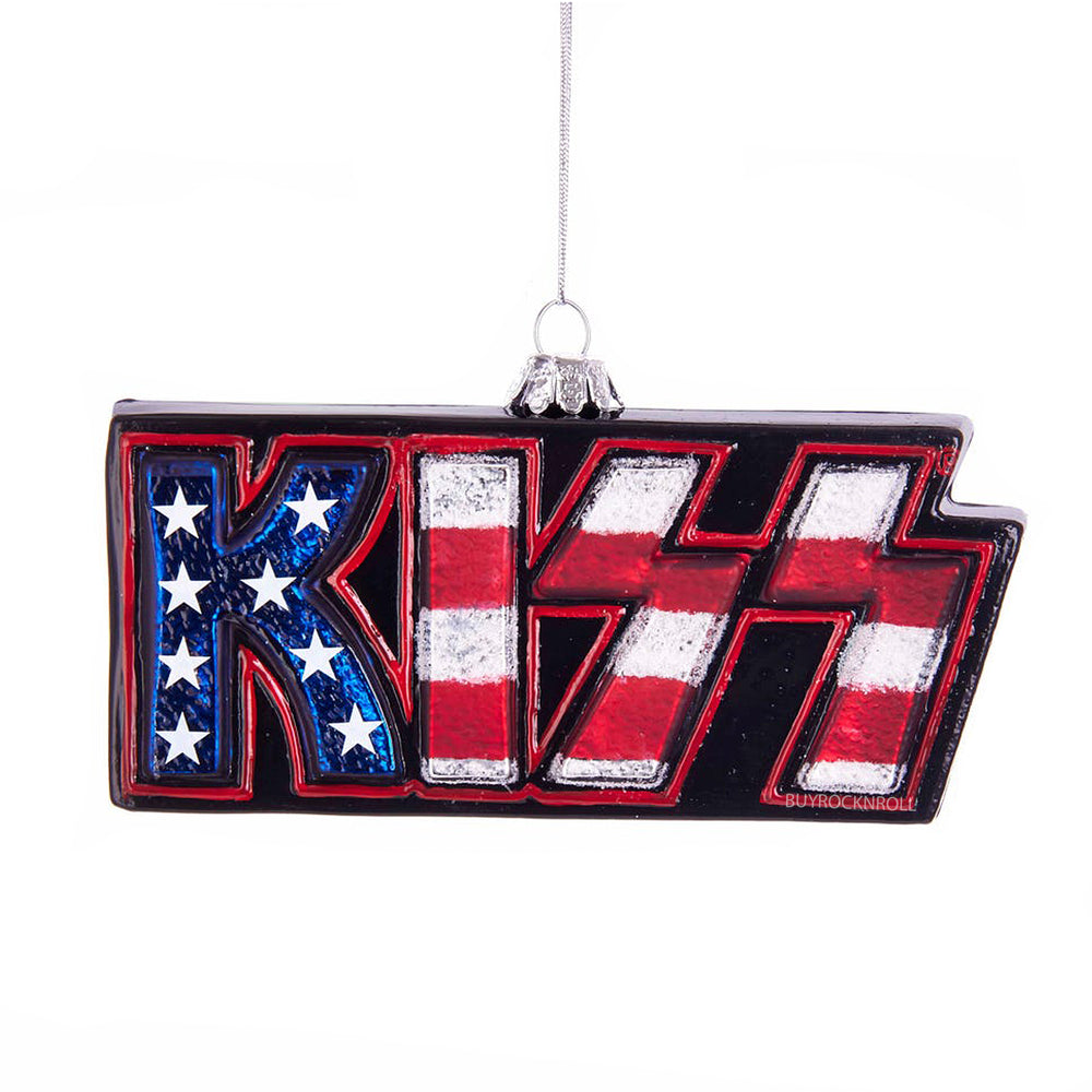 "KISS Collectible 2018 Kurt Adler KISS Logo Christmas 5"" Stars & Stripes Ornament"