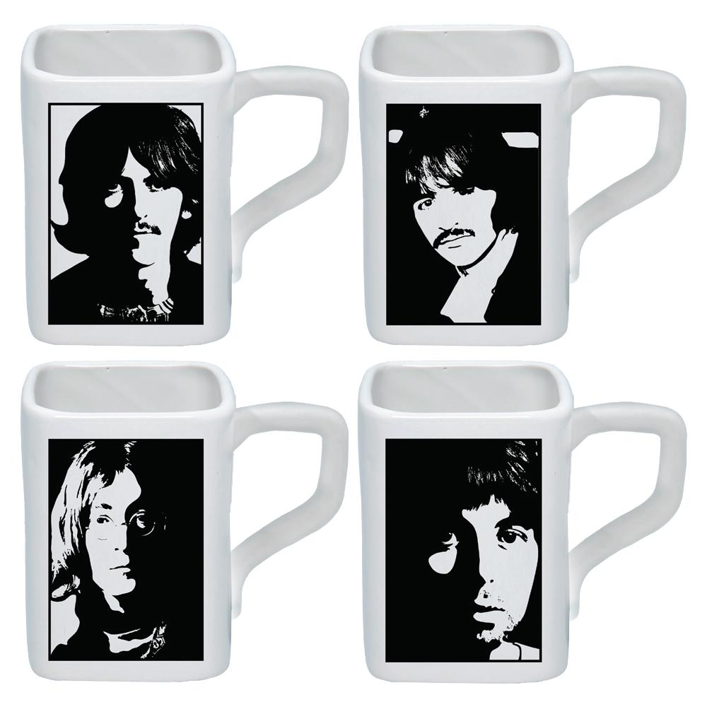 The Beatles Collectibles: 2019 White Album Square Ceramic 12 oz Mug Set of 4