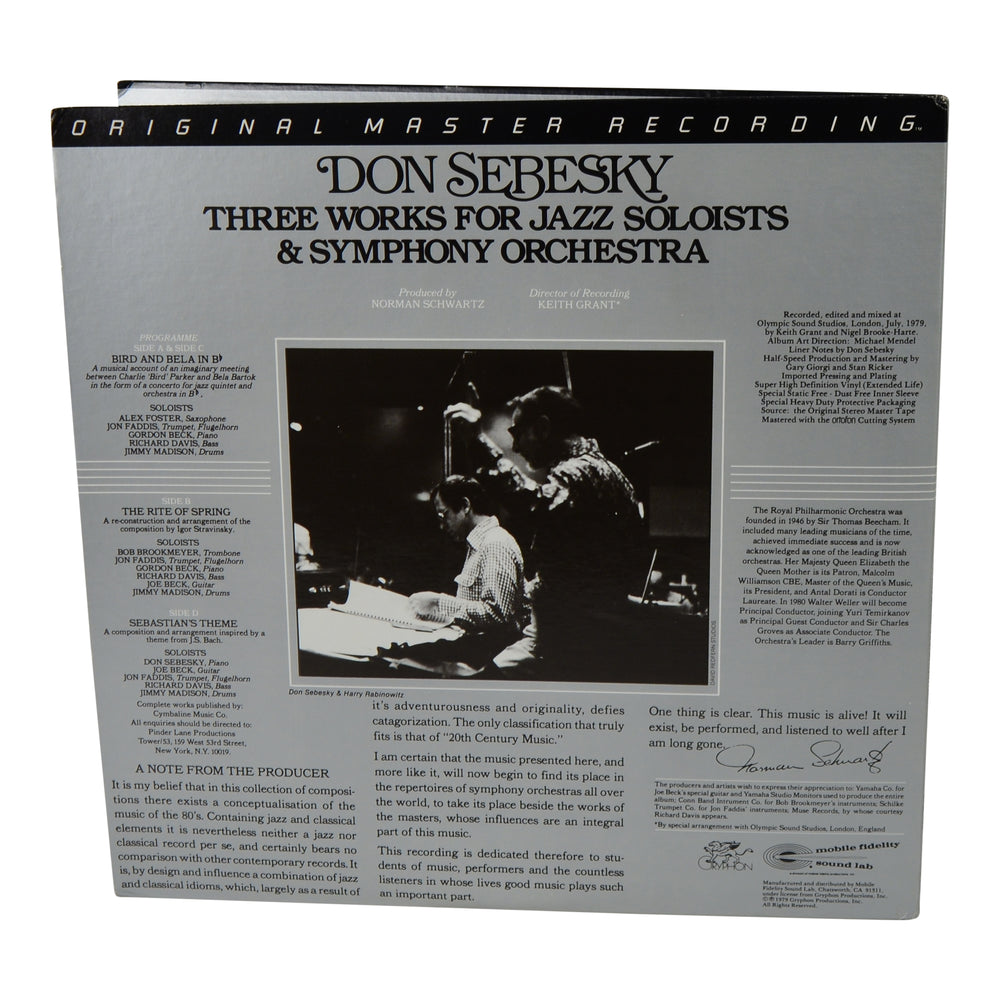 MFSL Collectors: 1979 Mobile Fidelity Don Sebesky: Three Works For Jazz Soloists and Symphony Orchestra LP #200J-3