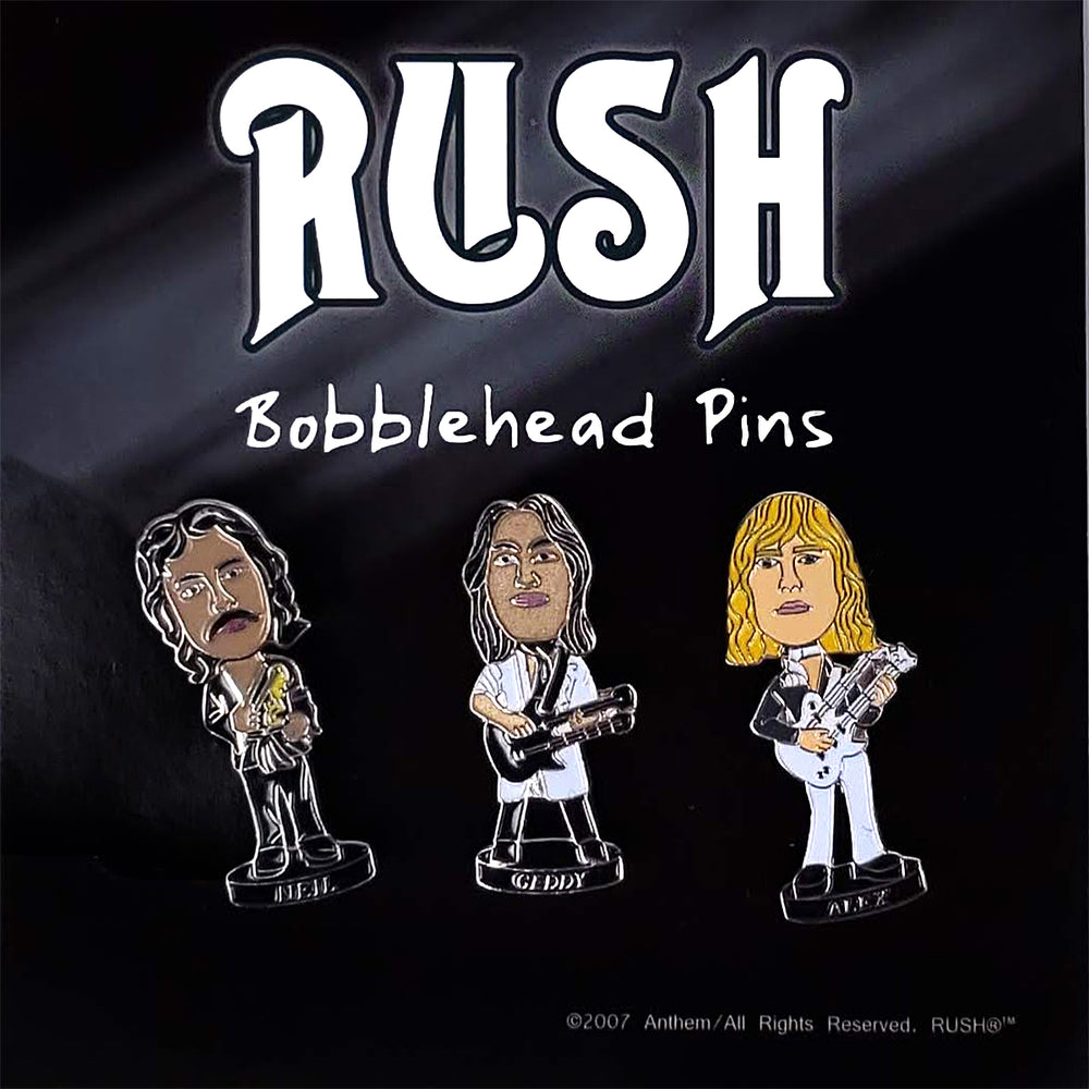 RUSH Collectible - 2007 Geddy, Alex, and Neil Bobblehead Enamel Bobbing Pins