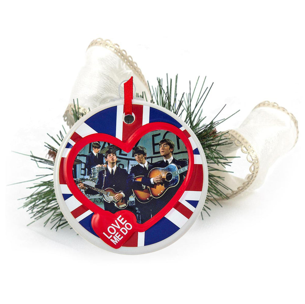 "The Beatles Collectible: 2012 ""Love Me Do"" Porcelain Disc Christmas Holiday Ornament"