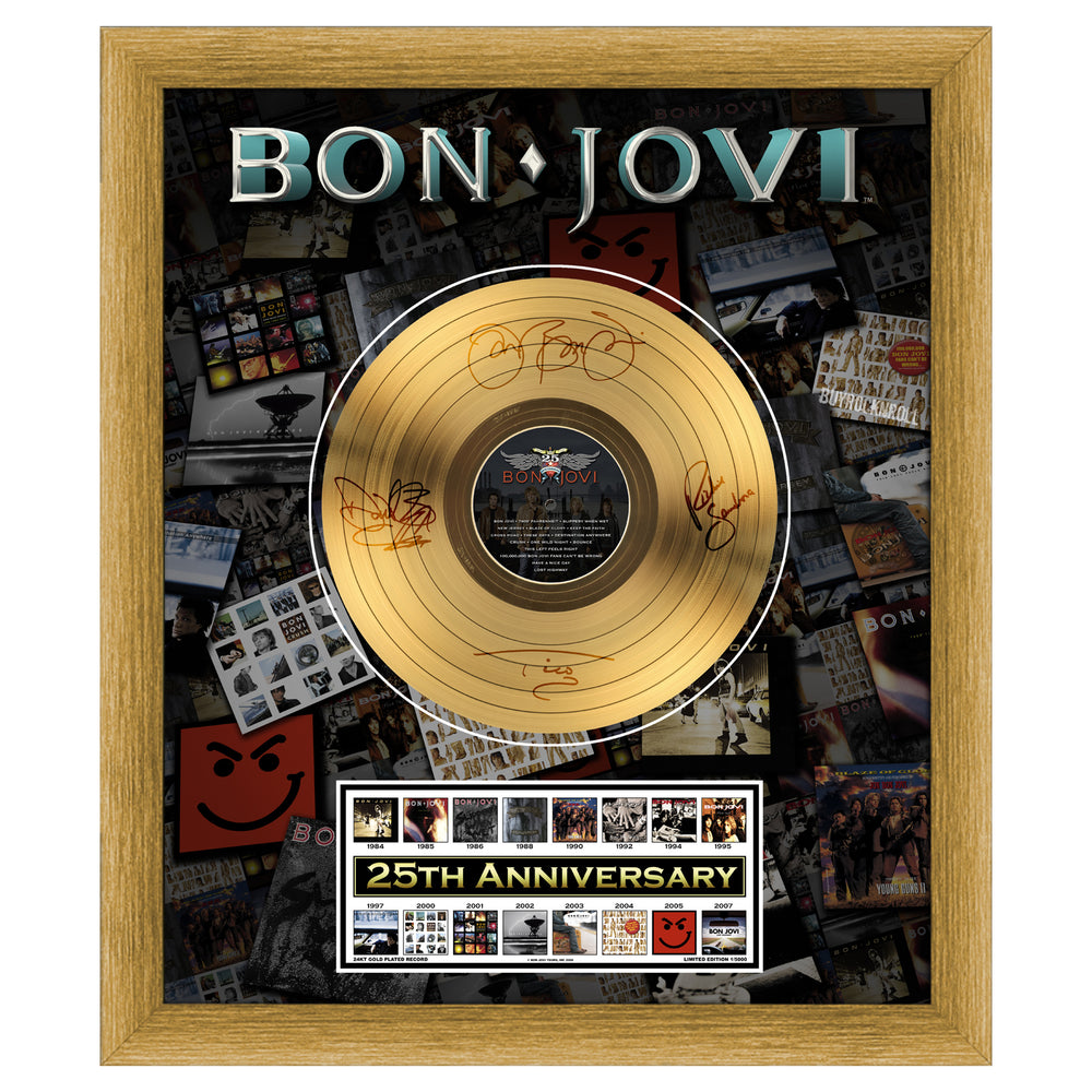 Bon Jovi Collectible: 25th Anniversary Framed 24KT Gold Record LP #1337/5000