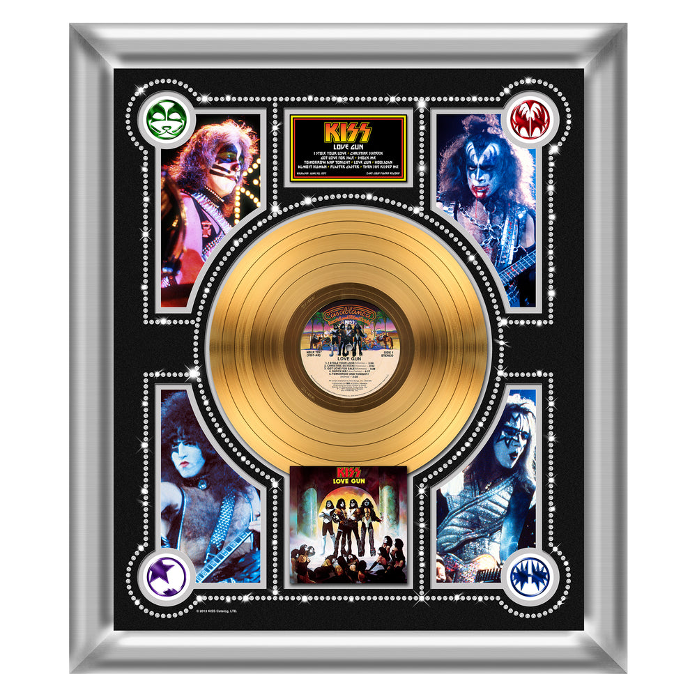 KISS Collectible Love Gun Limited Edition 24 kt Gold Record Album LP Framed