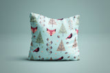 The Stockshirt Winter Fox Light Blue Square Pillow