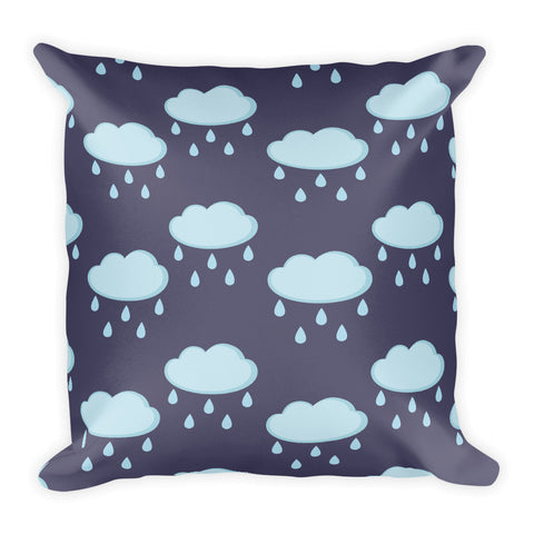 Rainy Clouds Dark Square Pillow
