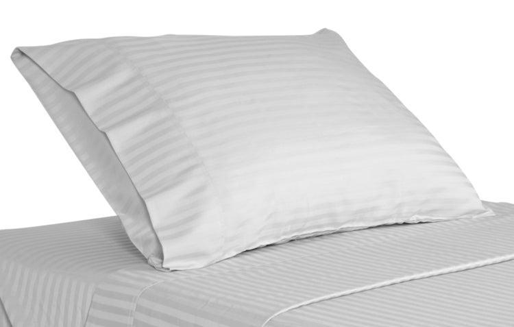 T 250 Tone On Tone White Stripe Bed Sheet Collection