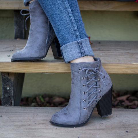Gray Faux Suede Lace Up Booties