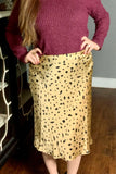 Taupe Spotted Midi Skirt