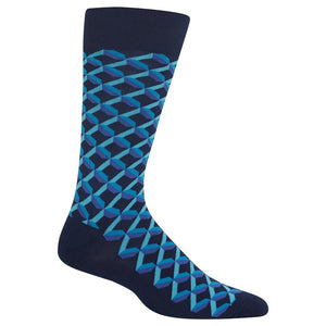 Hot Sox - Men's Fun Shadow Geo Socks in Navy