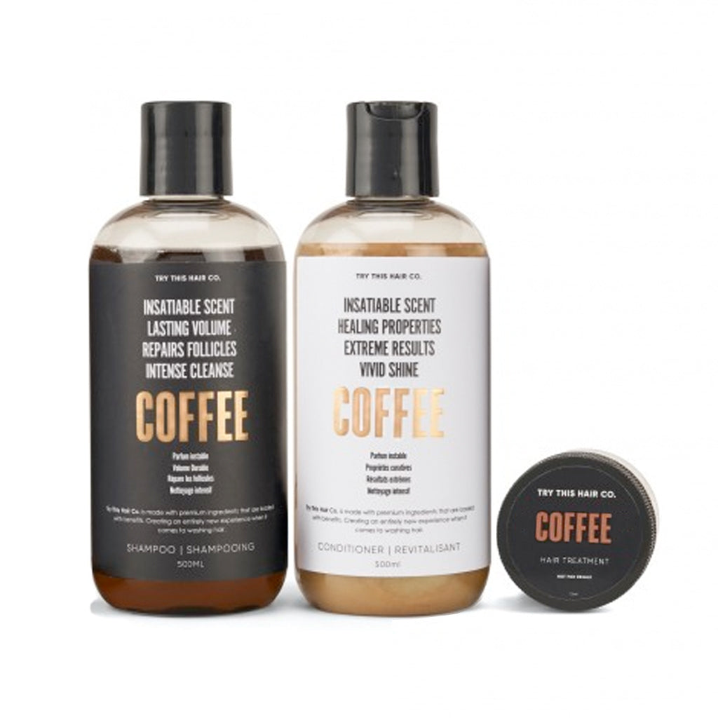 Try This Hair Co. Coffee Hair Care Trio - Shampoo, Conditioner and Hair Treatment