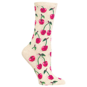 Hot Sox - Women's Cherries Socks in Natural Melange