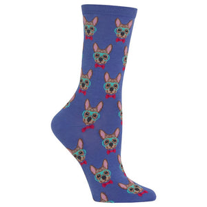 Hot Sox - Women's Smart Frenchie Socks in Blue