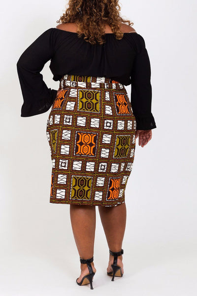 BLOCKED PENCIL SKIRT