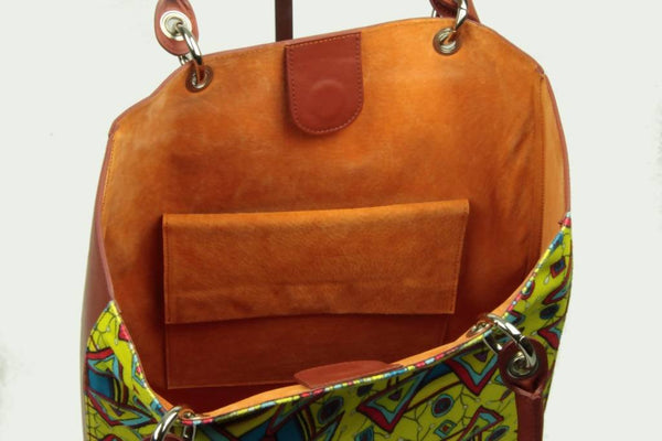 Tote bag Xaverine brown/yellow
