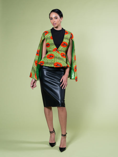 FATIMA CAPE BLAZER GREEN