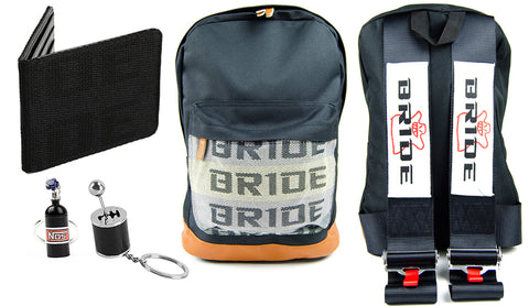 Bride racing backpack with black racing harness shoulder straps, the perfect school backpack, the best school bag, JDM backpack made for car guys, bride backpack with authentic racing harness straps, black racing bride wallet, black nos bottle car keychain, gearshift car keychain, back to school sale