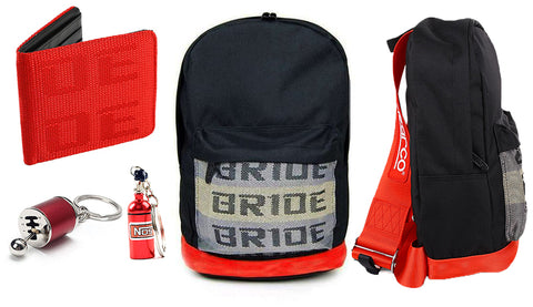SP Bundle Fully Red - BRIDE Backpack, Wallet and Keychains