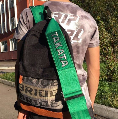 green straps takata backpack back to school racing backpack