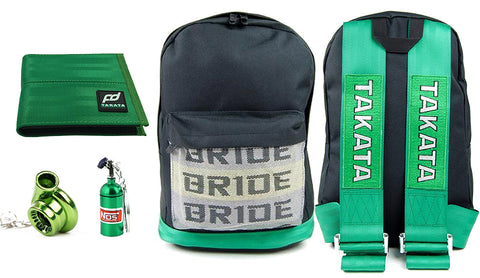 jdm-bride-backpack-with-green-racing-harness-shoulder-straps-and-Bride-pattern-on-the-front-pocket,-racing-backpack,-jdm-backpack,-green-fd-racing-wallet-nos-bottle-keychain-and-green-gearshift-keychain,jpg