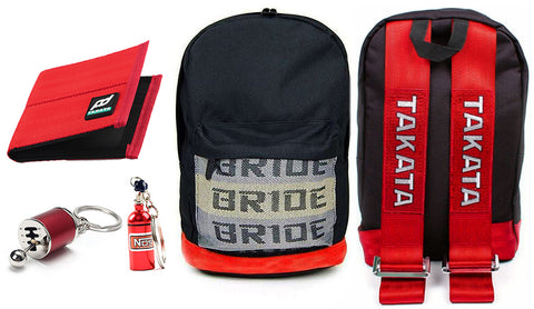 JDM backpack with red racing harness shoulder straps, the perfect school backpack, school bag, racing backpack made for car enthusiasts, bride backpack with authentic racing harness straps, car guys love it, back to school sale