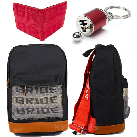 jdm racing backpack with red racing harness shoulder straps, perfect school backpack, car backpack, bride backpack, sp backpack, school bag, authentic racing material, red bride racing wallet, red gear shift keychain, back to school sale, hot sale, promotion, free shipping, the perfect gift for every car guy