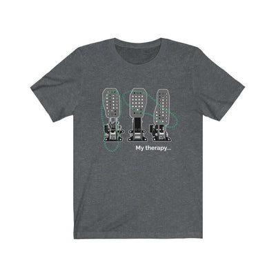 funny car tshirt with 3 pedals in dark grey heather