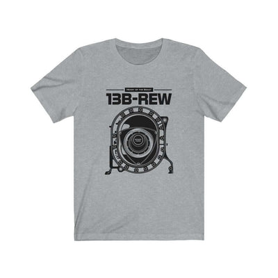 Legendary Japanese engine printed on athletic heather grey  car t-shirt designed for car lovers, car guys, car enthusiasts, JDM lovers and petrolheads