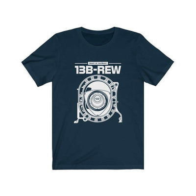 Legendary Japanese engine printed on navy car t-shirt designed for car lovers, car guys, car enthusiasts, JDM lovers and petrolheads