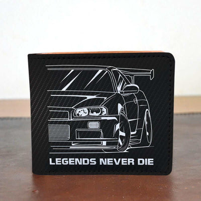 Japanese car printed on black carbon car wallet, car guy gift, car lover present, car-fan, car enthusiast