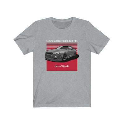 Japanese car printed on athletic heather car t-shirt, jdm tee, car guy gift, car lover present, car-fan, car enthusiast